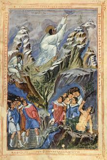 The Yorck Project (2002) 10.000 Meisterwerke der Malerei: Bibel des Patrice Léon, Szene: Moses empfängt die Gesetzestafeln auf dem Berge Sinaii, BAV Reg. gr. 1, Fol. 155v