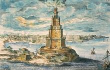 """Johann Bernhard Fischer von Erlach: """"Leuchtturm von Pharos"""" aus: """"Entwurf einer historischen Architektur"""""""