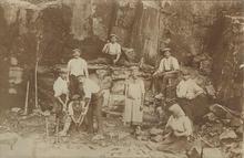Museum Steinarbeiterhaus Hohburg: Steinarbeiter im Steinbruch Zinkenberg (Hohburger Berge) um 1890
