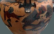 Bibi Saint-Pol: Zeus darting its lightning on Typhon (Chalcidian black-figured hydria Side B), Staatliche Antikensammlung Berlin, Inv.nr. 596